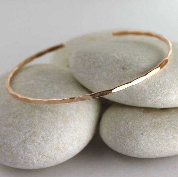 Thin Rose Gold Cuff, Rose gold filled textured bangle, layering rose gold bracelet