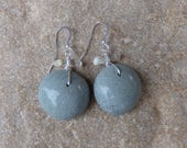Beach pebble, Quartz crystal earrings - natural stone jewelry handmade in Australia by NaturesArtMelbourne - unique one of a kind earrings