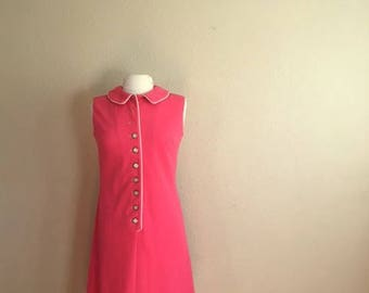 Vintage Watermelon PINK Sleeveless Dress / David Crystal / Tennis Shirt Scooter Dress / Womens Size Medium Large / AS IS
