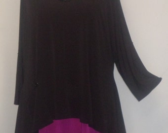 Plus Size Clothing, Coco and Juan, Lagenlook Plus Size,  Black Traveler Knit Angled, Plus Size Tunic Top, One Size, Bust  to 60 inches