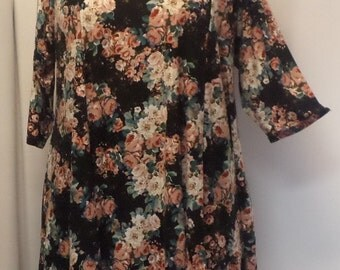 Plus Size Tunic, Coco and Juan, Plus Size Top, Asymmetric Tunic, Black Vintage Rose Print Traveler Knit Size 1 (fits 1X,2X)   Bust 50 inches