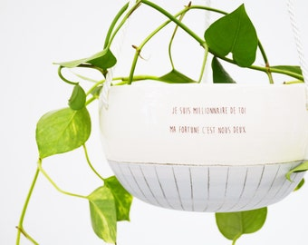 Large indor hanging planter. Ceramic plant hanger blue and white. Modern hanging planter with love quote.