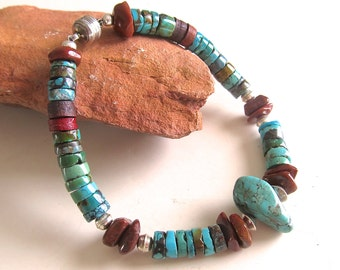 Southwestern Turquoise Bracelet w Sterling and Rustic Beads