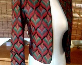 Vintage burgundy woven boho Western Crop Jacket S M