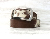 "Calf Hair Snap on Belt for Buckle in Brown & White -Western Hair on Belt for Buckle 1.5"" /3.8cm size small, medium, or large"