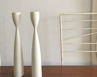 Vintage Danish Wooden Candle Holders Candlesticks White Modern Wood