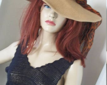 1970s Vintage Natural Straw Super Wide Brim Sunhat with Leopard Rayon Scarf One Size