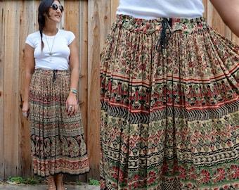 Vintage 80s Gauzy INDIAN Gypsy BOHO Festival Skirt