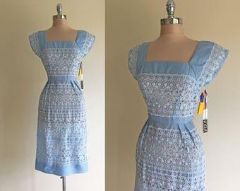 Vintage 1950s Embroidered Cotton Blue Wiggle Summer Dress