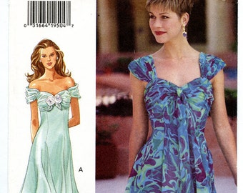 Vintage Butterick 3497 Sleeveless or Off Shoulder Spring Summer Women's Dress UNCUT Sewing Pattern Sizes 6 8 10 XS Small Bust 30.5 to 32.5