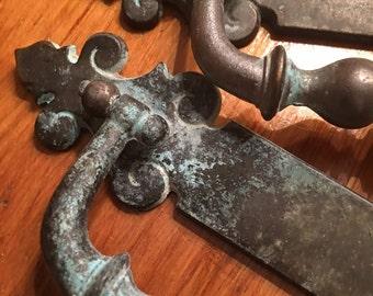 Heavy Antique Brass Finish or Bronze Drawer Pulls - Salvaged Hardware