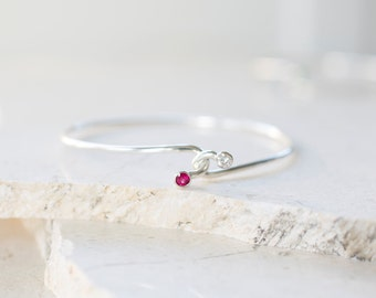 Hug Bangle - Ruby and Diamond Dual Stone Bracelet, Best Friend Bangle, Birthstone Jewelry by Prairieoats