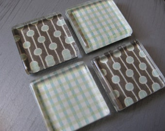 Brown and Blue Coordinating Patterns - square glass magnets - set of 4