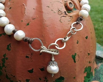 Gorgeous artisan freshwater pearl and sterling necklace