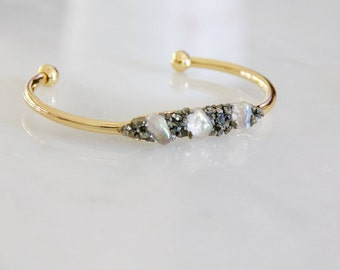 Moonstone and Pyrite Bracelet