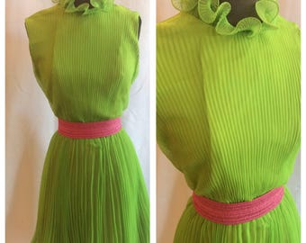 1960s Electric Lime Pleated and Ruffled Chiffon Party Dress