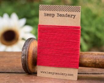 Organic Cotton Cord, 1mm,   5 yards,  red  Tubular   Cord, Red Cord, Organic Cotton