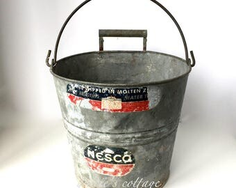 Galvanized Bucket Small Original Label Unusual Handle NESCO Zinc Farmhouse Primitive