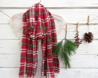 Christmas Scarf, Red Plaid Scarf, Red and Green Plaid Scarf, Flannel Scarf, Extra Long Scarf, Winter Scarf, Christmas Gift, Gift for Her