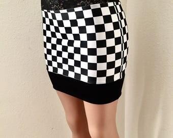 Black and White • Checkered • Race Day • Mini Skirt • Medium - Large