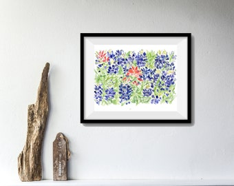 art print , Bluebonnet and Indian paintbrush field, wild flower print,  Blue, Red, watercolor landscape, Texas state flower, floral art