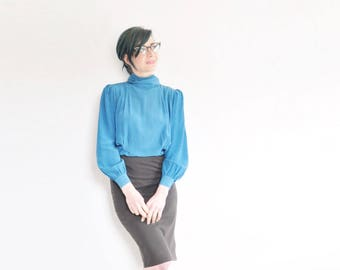 dark aquamarine silk blouse . pleated neck tie secretary shirt .medium .sale