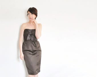 rich darkest brown cocktail dress . 1960 origami tie front wiggle fit .extra small.xs .sale