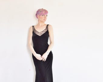 sheer illusion beaded velvet gown . formal Carmen Marc Valvo dress .small.medium .sale
