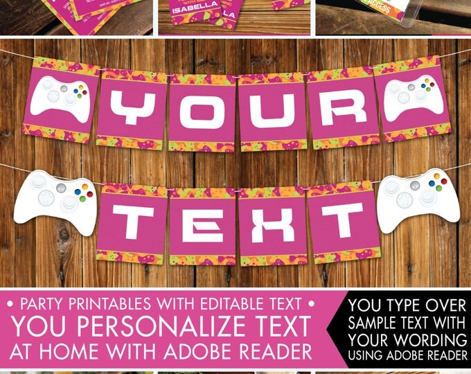 Video Game Party Printables, Invitations & Decor, Gamer Birthday, Pink Camo Full Collection, Girl Birthday - INSTANT Download Printable PDFs