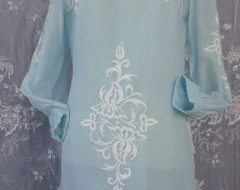 Vintage Embroidered Pale blue and White Dress