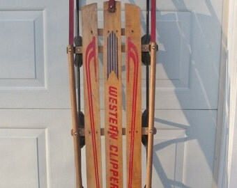 Vintage Western Clipper Wood Sled with Metal Runners