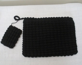 Vintage Black Corde Crocheted Clutch Purse with Change Purse