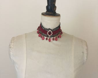 Burgundy Beaded Lace neck choker.