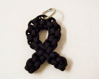 Paracord Awareness Ribbon keychain - Black (Melanoma cancer)