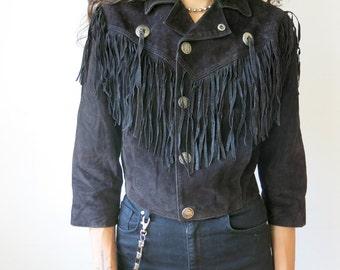Black Fringe Jacket / Black Suede Jacket / Biker Babe Moto Sz XS