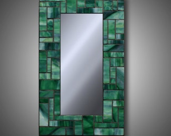 "Green Stained Glass Mosaic Mirror - 10"" x 17.5 - Handmade with Uroboros Glass - Modern Home Decor - Unique Mirrors - by DeMaris"
