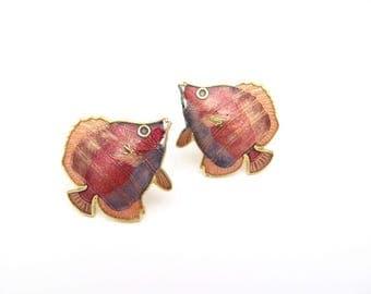 Cloisonne Earrings, Fish Earrings, Vintage Cloisonne Earrings, Vintage Fish Earrings, Multi Color Cloisonne Fish, Pierced Earrings