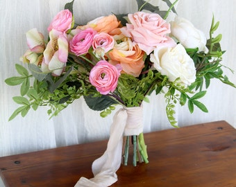Silk Flower Wedding Bouquet   Pink Peach and Coral   Bright Colorful Garden Faux Bouquet   SG-1022
