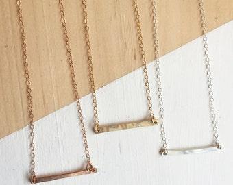 Short Bar Charm Necklace | Dainty Necklace | Rose Gold Filled | Gold Filled | Sterling Silver