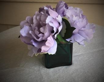 Lavender purple faux flower arrangement, purple home decor, office flower arrangement, artificial flower arrangement gift