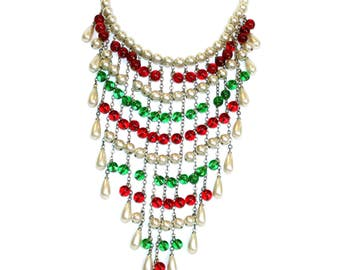 Vintage Faux-Pearl and Glass Bead Bib Necklace