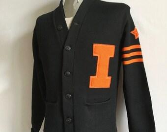 Vintage Men's 40's HL Whiting Co, Letterman Sweater, Black, Orange, Long Sleeve (S/M)