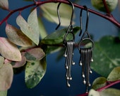 Silver Fringe - Solid Sterling Silver Earrings - Botanical Earrings - Sensitive Ears - Lightweight Earrings - Drop Dangles