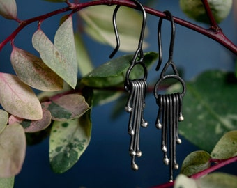 COUPON IN SHOP - Silver Fringe - Solid Sterling Silver Earrings - Botanical Earrings - Sensitive Ears - Lightweight Earrings - Drop Dangles