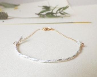 Simple White Fiber and Gold Necklace, delicate white and silver cotton strand on thin gold filled chain, dainty fiber boho necklace