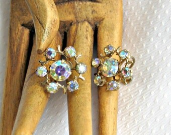 Aurora Borealis Earrings Vintage 50s Jewelry Floral Screw Back