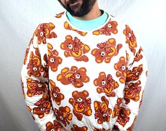 RARE Vintage 80s Puffy Teddy Bear Hearts Reversible Sweatshirt