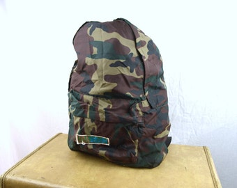 Vintage 80s Camoflague Camo Backpack Tote - Wild River