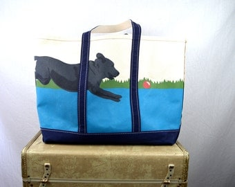 Vintage Vtg Canvas L.L. BEAN Large Duffle Carry-On Travel Tote Bag - RARE Hand-painted Dog Boat Dock