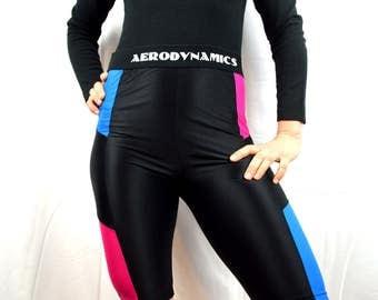 Amazing Vintage 1980s 80s Rainbow Neon Spandex Workout Shorts - Aerodynamics